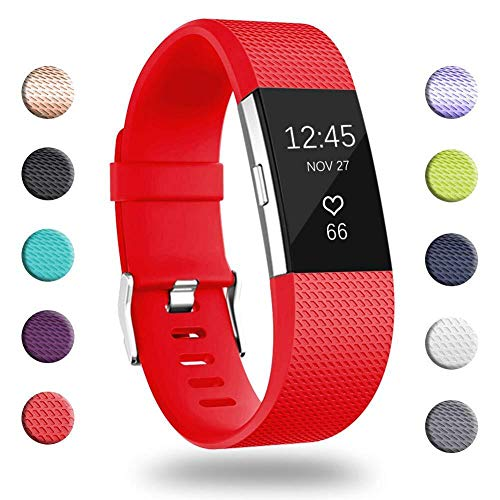 GEAK for Fitbit Charge 2 Bands, Adjustable Replacement Sport Accessory Strap Bands for Fitbit Charge 2, Small Classic-Red