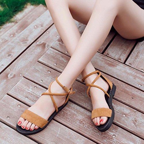 2018 Moda Verano Sandalias y Chanclas, WINWINTOM Nuevo Dama Mujer Moda Plano Sandalias Cruzar Correas Abierto Toe Hebilla Bajo Talón Cuña Verano Zapatos Amarillo