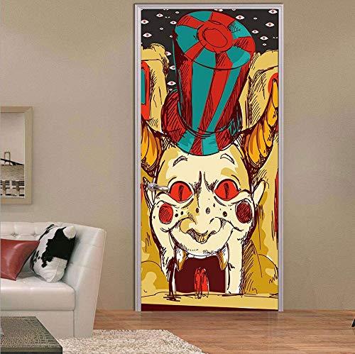 MISSSIXTY Happy Halloween 3D Door Wallpaper Murals Wall Stickers Self-Adhesive Vinyl Removable Art Door Decals DIY Home Decor Poster Decoration 30.3x78.7