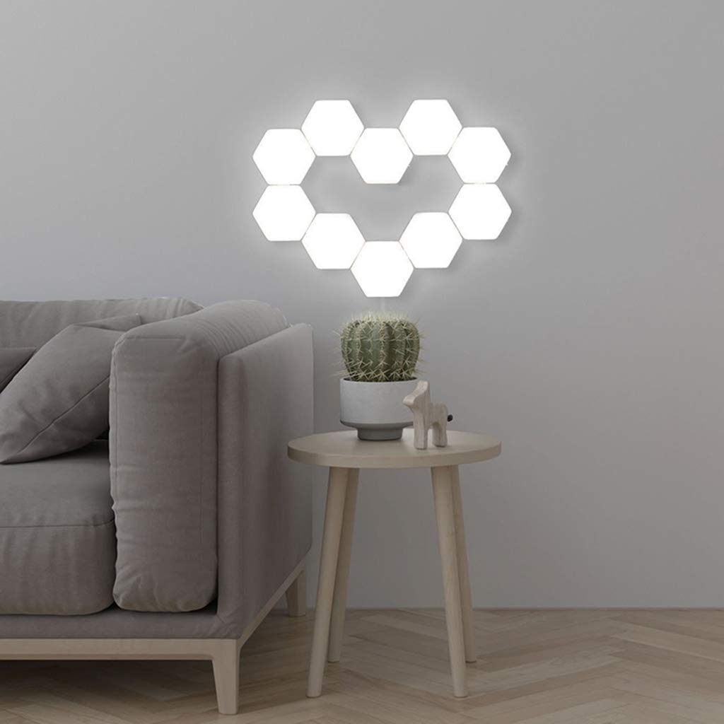 Junphsion Magnetic Hexagons Wall Decoration, Creative Honeycomb Quantum Touch Splicing Wall Lamp DIY Combination to Any Different Patterns Logo,4Pcs