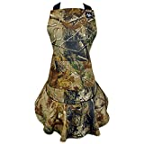 DII 100% Cotton, Machine Washable, RealTree Fashion Chef Apron Perfect For A Camo Kitchen, BBQ, Camping, Flounce Ruffle Apron For Hosting Or Gift - Camo