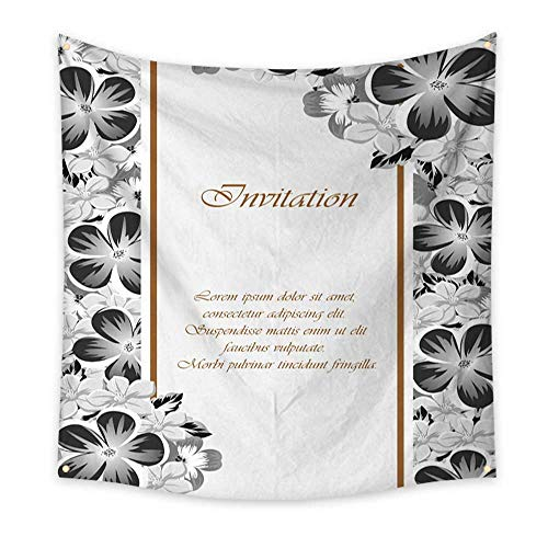 BlountDecor Simple Tapestry Frame of Monochrome Colors for Design Postcards Greeting Invitation for a Birthday Valentine s Day Wedding Party Holiday 55W x 55L Inch ()
