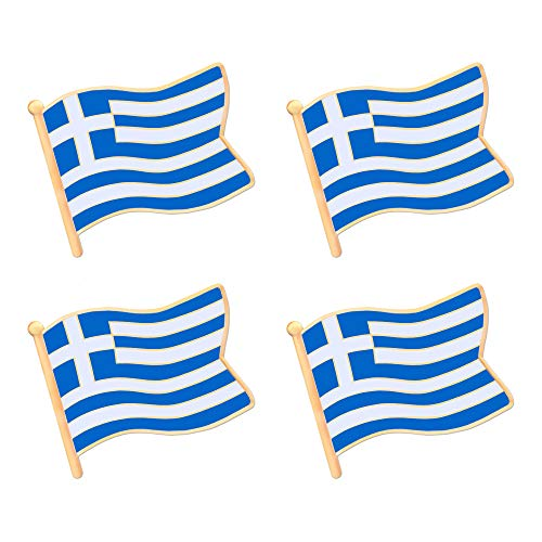 ALEY Greek Greece Flag Lapel Pin Decorations (4 Pack)