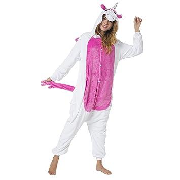Katara 1744 - Kigurumi Pijama Disfraz de Animal Onesie Con Capucha - Adultos Unisexo - Unicornio