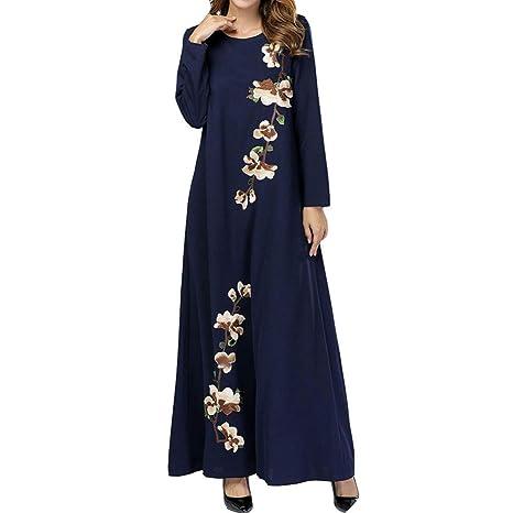 QINJLI Vestido de Damas, Bordado Suelto Manga Larga Batas Musulmanas con Bolsillos Cintura Alta Vestido