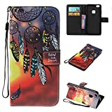 JGNTJLS Case For HUAWEI P10Lite/G10, [New Original Painting Series for SS/AW] Fashion, Casual, Stylish, Simple, Portable, Cross-Embossing(Multicolor, Wrinkle-Design), Artificial Leather-Shell(Environmental, Non-Animal Fur, Not Real Leather), Internal-TPU(Soft and Smooth) [With Small Black Lanyard Strap] Multifunctional Wallet Card Slot Smart Stand Flip Cover Ultra Slim Protective Folder Case Perfectly Fit For HUAWEI P10Lite/G10 [5.2' Inch Screen Size(Campanula)]