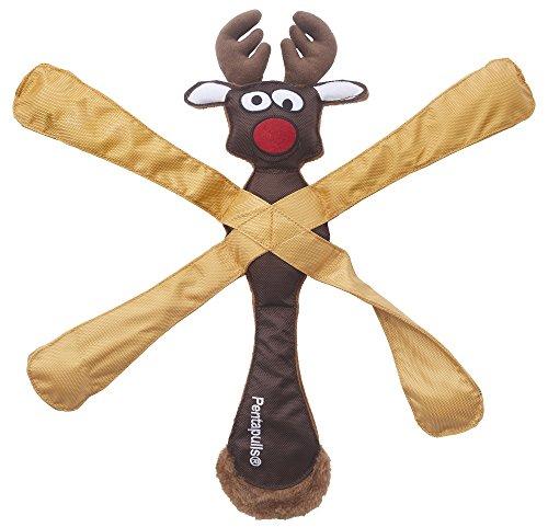 Doggles TYPERA06 Pentapulls Reindeer Holiday Dog Toy, 11