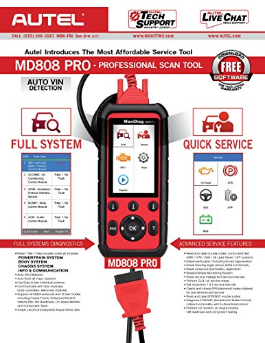 Autel MaxiDiag Updated MD808 (MD808 Pro) Professional Automotive OBD2 Scanner (Combination of MaxiCheck Pro and MD802) Multifunctional Scan Tool by Autel