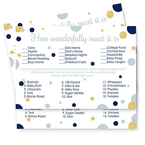 Navy and Gold Baby Shower Candy Bar Game Card Set of 25 ()