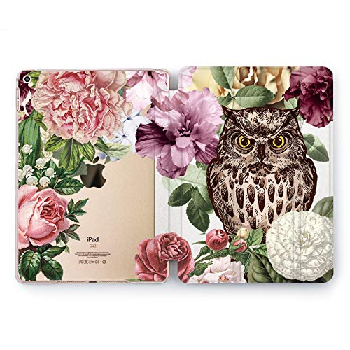 Wonder Wild Owl Flowers iPad Case 9.7 Pro inch Mini 1 2 3 4 Air 2 10.5 12.9 2018 2017 Design 5th 6th Gen Clear Print Smart Hard Cover Bird Night Watcher Beautiful Floral Pattern Bloom Peonies Rose