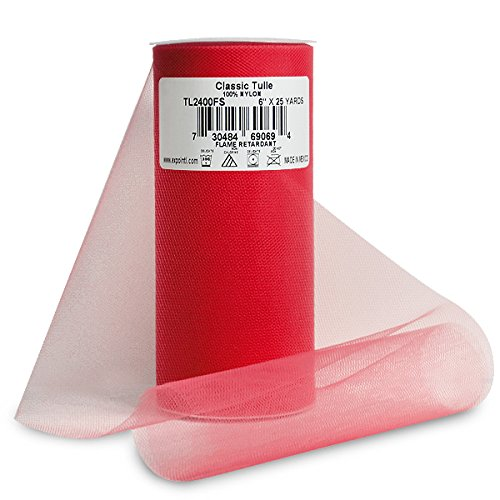 Expo Classic Tulle Spool of 25-Yard, Red