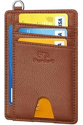 FurArt Slim Minimalist Wallet, Front Pocket Wallets, RFID Blocking, Credit Card Holder with Disassembly D-Shackle (Card Wallet Key)