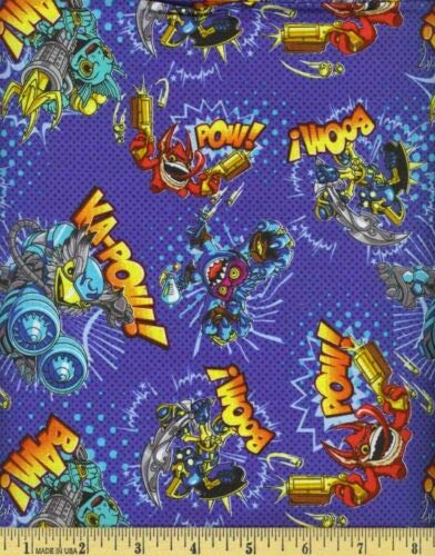 Skylanders Blue Character TosS100% Cotton Fabric by The Yard -
