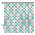 CafePress Teal Grey Aqua Circles Pattern Shower Curtain