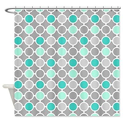CafePress Teal Grey Aqua Circles Pattern Shower Curtain
