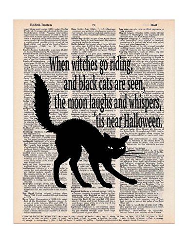 Halloween Black Cat and Poem, Dictionary Page Art Print, 8x11 UNFRAMED (Black Cat Halloween Poem)