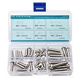 M6 Hex Socket Button Head Cap Screw Assortment Set,Stainless Steel, Metric, Full Thread, Right Hand