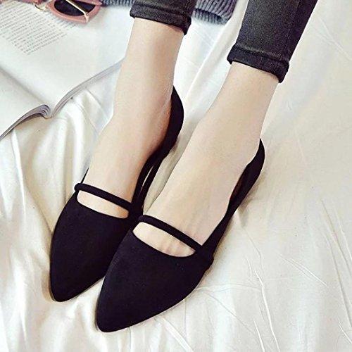 Transer® Damen Flach Mokassins Spitzen Schuhe Gürtel Wildleder Grün Schwarz Khaki Einzelschuhe (Bitte achten Sie auf die Größentabelle. Bitte eine Nummer größer bestellen. Vielen Dank!) Schwarz