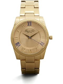 Kenneth Cole New York Womens Goldtone With Purple Accent Link Watch