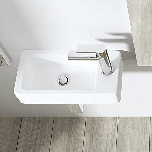 BTH: 36x18x9,5 cm Design Hängewaschbecken Brüssel3053L, Hahnloch rechts (wie abgebildet), aus Keramik, eckige Form, Waschschale, Waschtisch