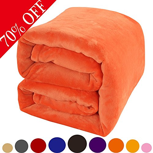 Shilucheng Fleece Soft Warm Fuzzy Plush Lightweight Throw (60-Inch-by-43-Inch) Couch Bed Blanket, Orange