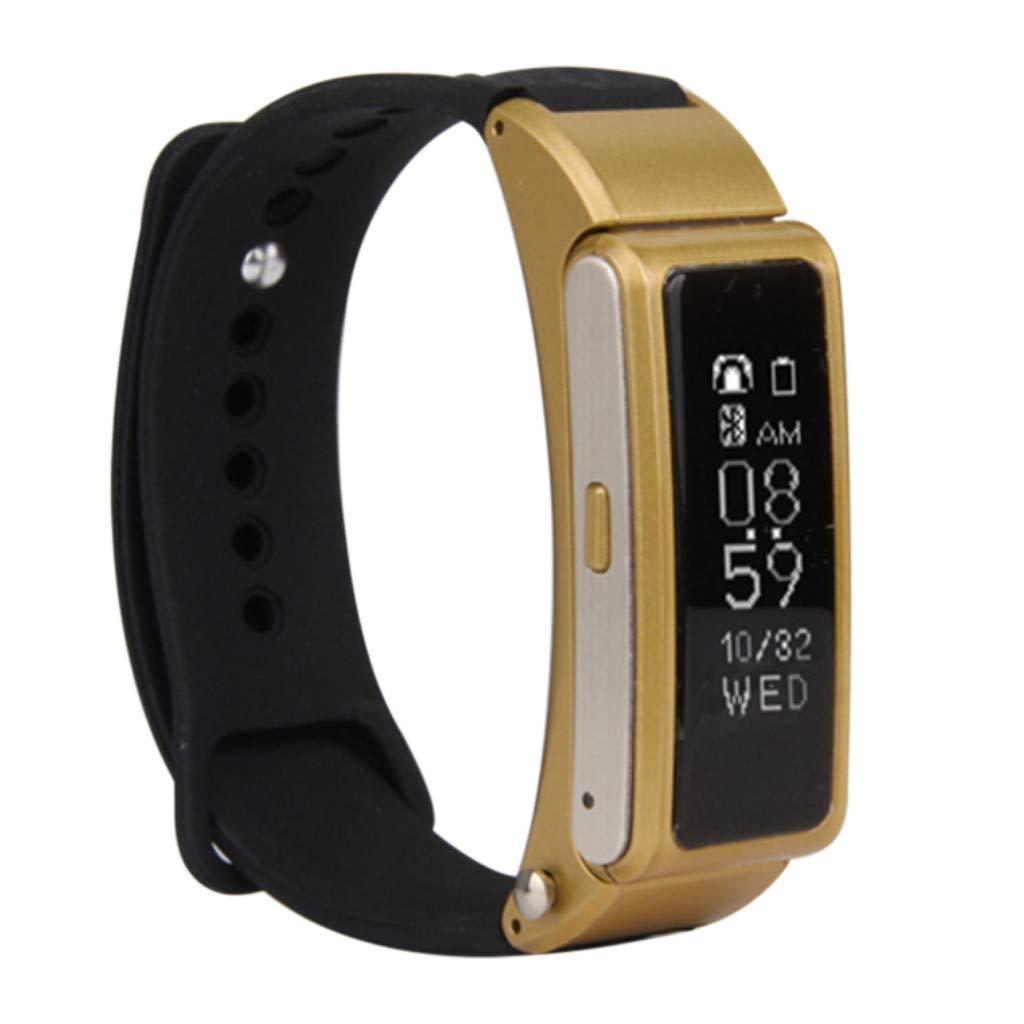 Hot Sale! NDGDA, Smart Watch Bluetooth Headset Talk Band Music Control Sleep Monitor Wristband (Gold)