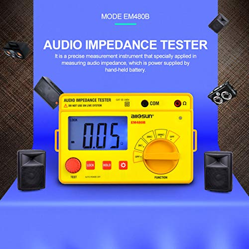 (ALLOSUN Audio Impedance Tester Digital LCD Insulation Resistance Megohmmeter Meter Tester with Bag)