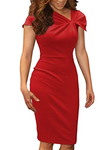 VfEmage Women's Celebrity Vintage Pinup Bow Business Casual Party Bodycon Dress