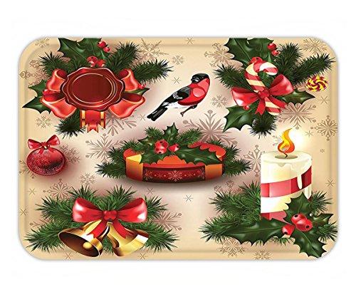 Joy Carpets Ribbons (Minicoso Doormat Christmas Decorations Vintage Christmas Classical Religious Objects Candle Bell Mistletoe Ribbon Bird Print Decor Multi)