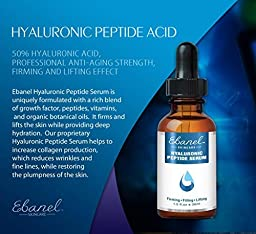 Ebanel Hyaluronic Acid Serum 100% Pure Professional Anti-Aging Strength Firming & Lifting Effect – Best Anti Wrinkle Peptide Infused 1 Oz (30ml)