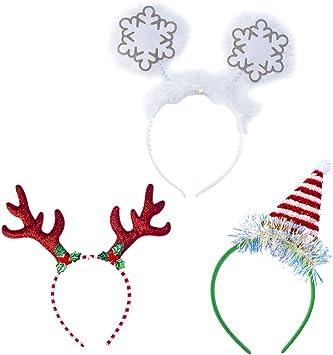 NUOBESTY 3 diademas de Navidad con gorro de Papá Noel, reno y ...