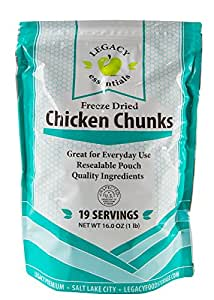 Freeze Dried Chicken Supply: Emergency Food Storage Chicken Dices - Survival Prepper Meat / Camping / Hiking / RV / Fishing (Quantity 1)