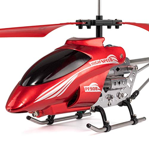 Mini RC Helicopter, Remote Control Helicopter with Gyro and LED Lights for Kids and Adults, 3.5 Channel, Cool Helicopter Toy Indoor & Outdoor for Plane Fans, Red from Ancesfun