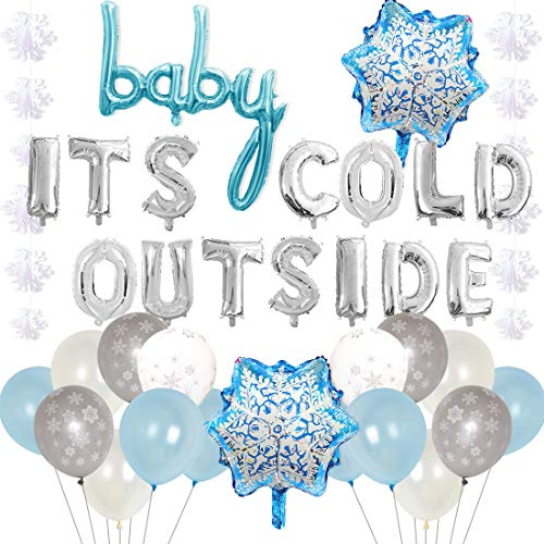 Winter Baby Shower Decorations (Baby It's Cold Outside Party Decorations Blue - Snowflake Balloons, Garland for Winter Wonderland Baby Shower, Christmas, Frozen Birthday Party)