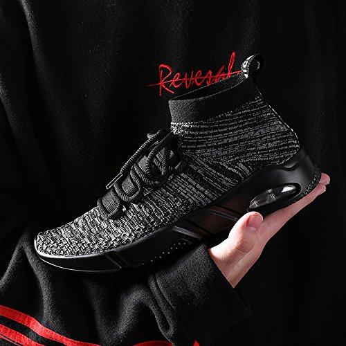 Baskets de Course Homme Outdoor Sports Slip on Hautes Top Chaussures de Randonnée Knit Chaussette Air Semelle Femmes Sneakers Noir Gris Rouge Blanc 38-45 Gris GuYmHAkv2