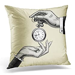 Duplins Clock Hands of Man and Woman with Retro Pocket Watch Vintage Drawing Fancy Decorative Pillow Cover 20x20 Inches Throw Pillow Case Square Home Decor Pillowcase