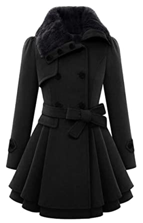 e4e4057bde4 Pivaconis Womens Faux Fur Collar Double Breasted Belted Flare Peacoat Black  XXS