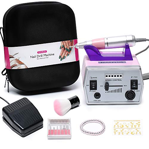 Nail Drill Machine, NATPLUS Professional 30000 RPM Electric Manicure Drill E-file with Nail Drill Bits for Nail Art Acrylic Gel Nails (with EVA Bag) (Best Electric Nail Drill Machine)