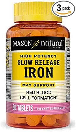 Mason Natural Slow Release Iron, 60 Tablets (Pack of 3)