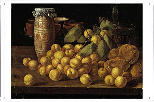 Artwork Oil Paint of Melendez, Luis Egidio - Bodegon albaricoques, bollos y recipientes on Tin Sign by Masterpiece Collection (20*30cm)