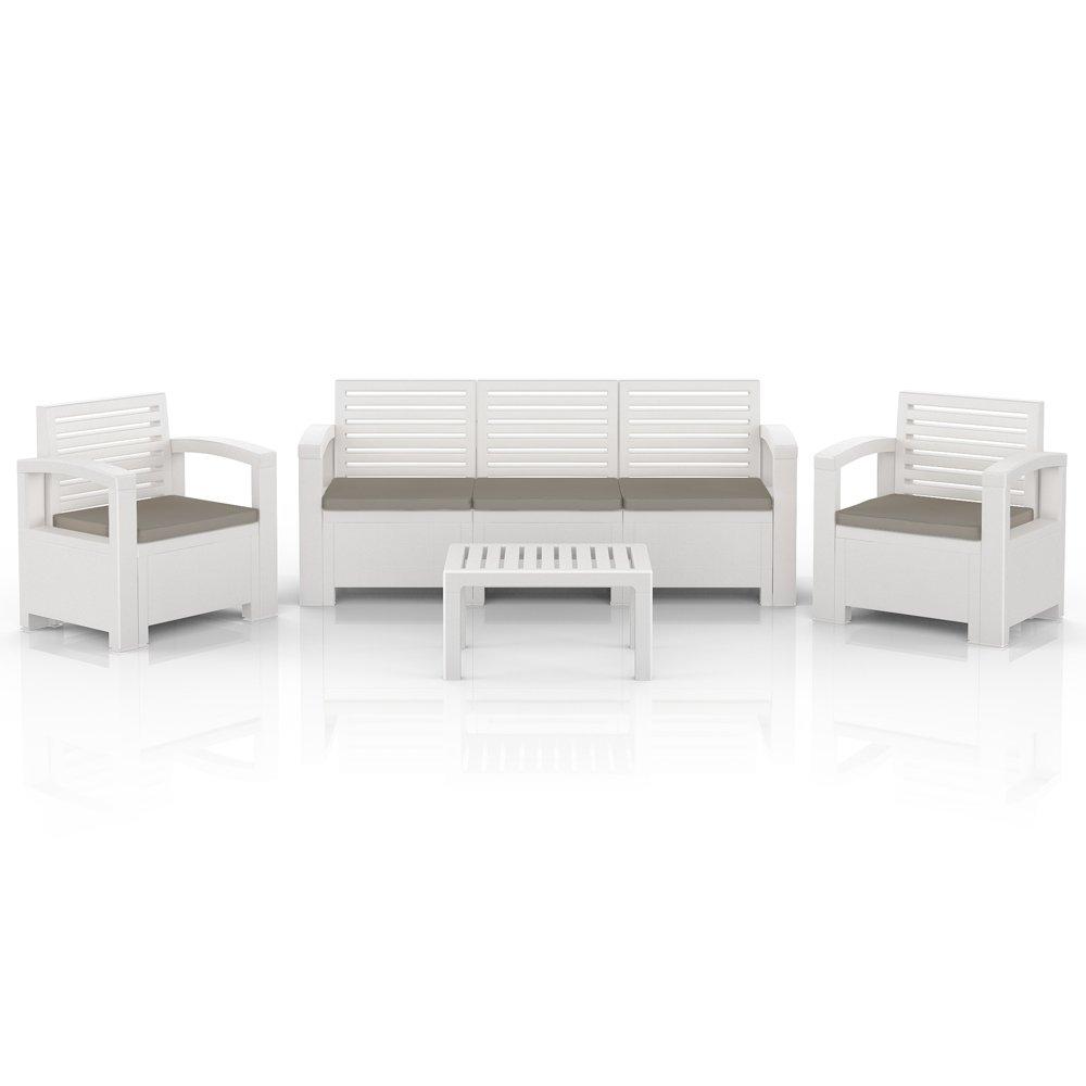 bica nevada garten m bel lounge sitz gruppe garnitur set kunststoff weiss jetzt kaufen. Black Bedroom Furniture Sets. Home Design Ideas