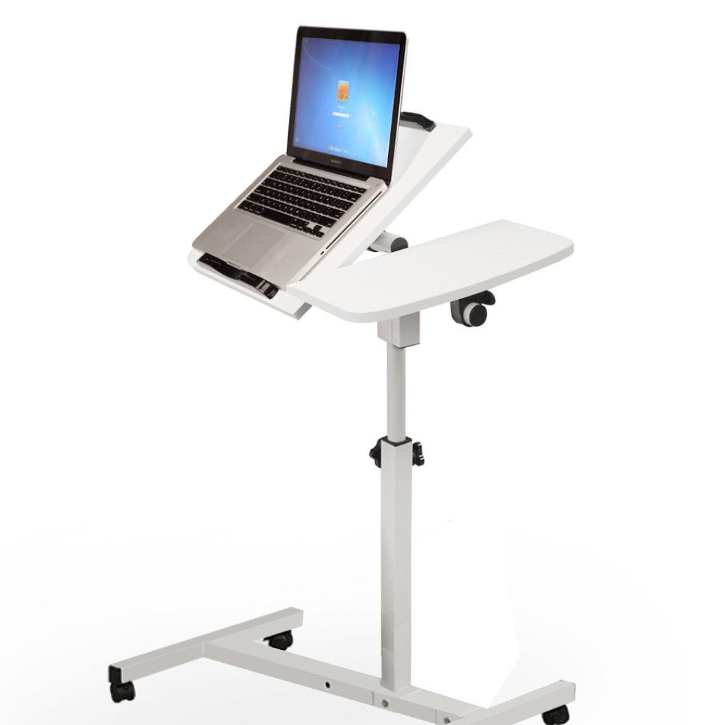 Sttech1 Sit-Stand Portable Laptop Desk, Notebook Tables Cart with Side Table, Adjustable Mobile Laptop Computer Desk with Adjustable Top and Casters (White)