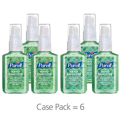 PURELL Advanced Hand Sanitizer Gel, Refreshing Aloe, Metallic Design Series, 2 fl oz Sanitizer Portable, Travel Sized Pump Bottles (Pack of 6) - 9682-04-ECDECO