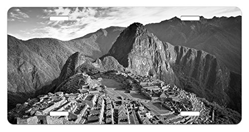 Ambesonne Black and White License Plate, Aerial View of Peru Village Architectural Landmark Buildings Day Time, High Gloss Aluminum Novelty Plate, 5.88 L X 11.88 W Inches, Black and White