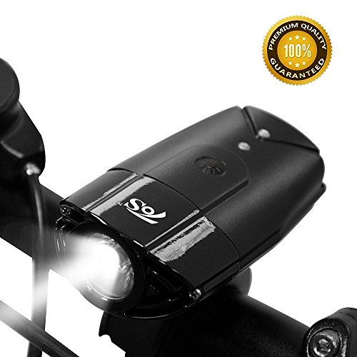TOS USB Rechargeable Bike Headlight, Bicycle Front Light with Switch Button, IP65 Waterproof-Cycling Safety Commuter Flash Light for Mountain, Road & City(R3) (R3 Black, 1200mAh) - Low Side Conversion Valve