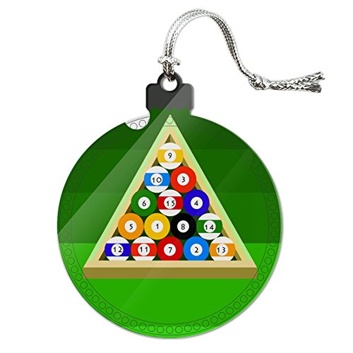 Billiard Ball Ornament (Billiard Balls and Triangle Pool Table Acrylic Christmas Tree Holiday Ornament)