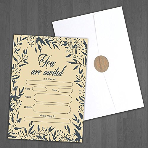Thanksgiving Dinner Invitations (Jofanza Fill In Wedding Invitations Cards 50 Sets with Envelopes Bridal Baby Shower Birthday Party Dinner Invites Engagement Graduation Vintage, Envelope seals)