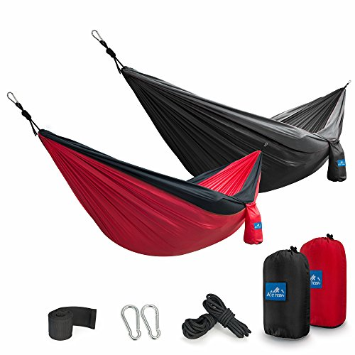 Ace Teah Camping Hammocks 2 Pack Portable Parachute Nylon Double Hammocks with Tree Straps Outdoor for Family Picnic, Camping, Travel, Garden, Backyard Backpacking Hiking or Party Fun
