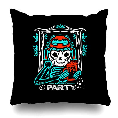 KJONG Skull Happy Zippered Pillow Cover,18 x 18 inch Square Decorative Throw Pillow Case Fashion Style Cushion Covers(Two Sides Print) ()