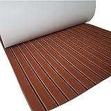 yuanjiasheng New Design EVA Faux Teak Decking Sheet For Boat Yacht Non-Slip Marine Flooring Mat 94.5''× 35.4'' Bevel Edges (drak brown with black lines)